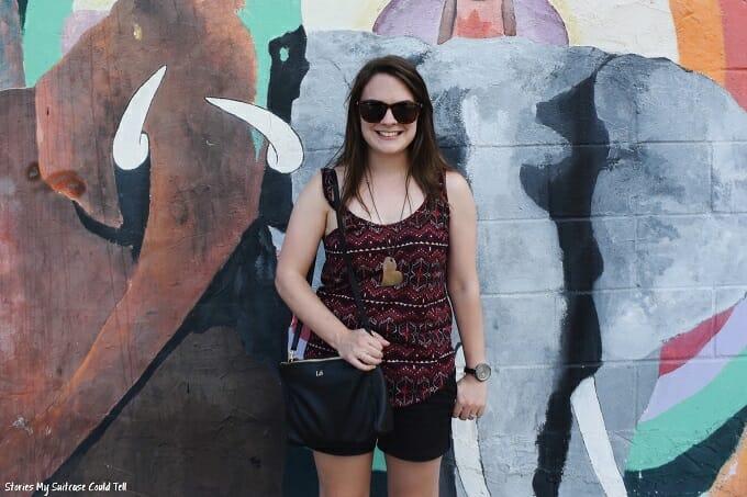 Standing in front of Brooklyn street art