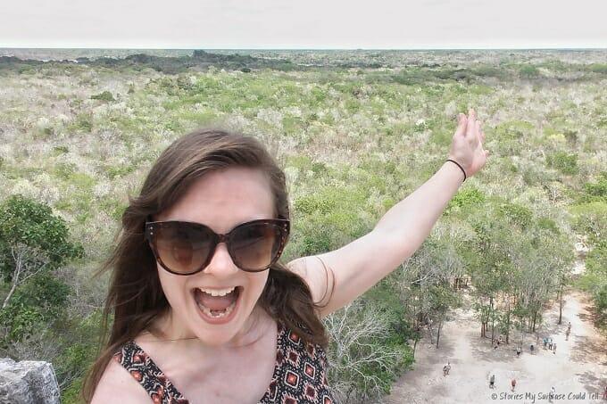 At the top of Coba ruins, Mexico