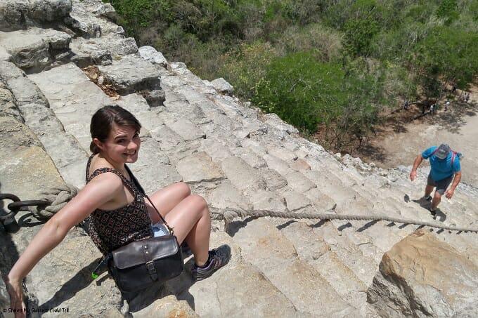 Climbing down the Coba Ruins