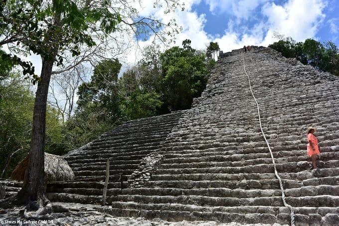 Preparing to climb the Mayan temple at Coba