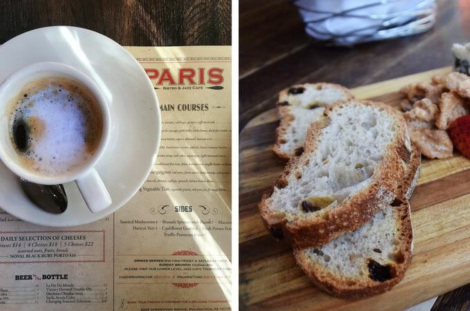 Coffee and bread on wooden table