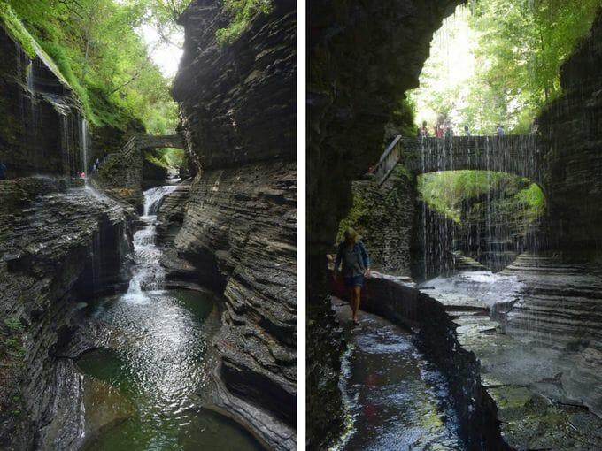 Woman walking past waterfalls Watkins Glen