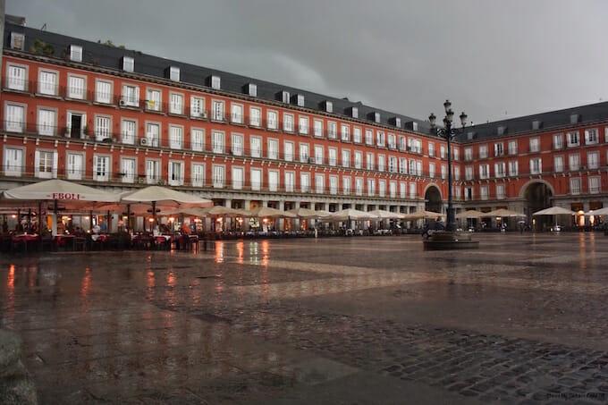 Plaza Mayor in the rain