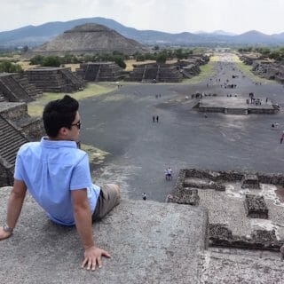 Sitting on a Teotihuacan pyramid