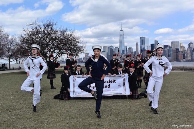 Sgoil Lionacleit Highland dancers NYC skyline