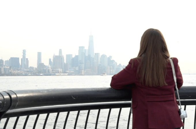 Katie looking at NYC skyline