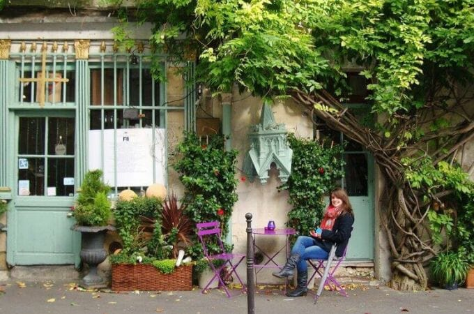 Sitting outside Paris cafe