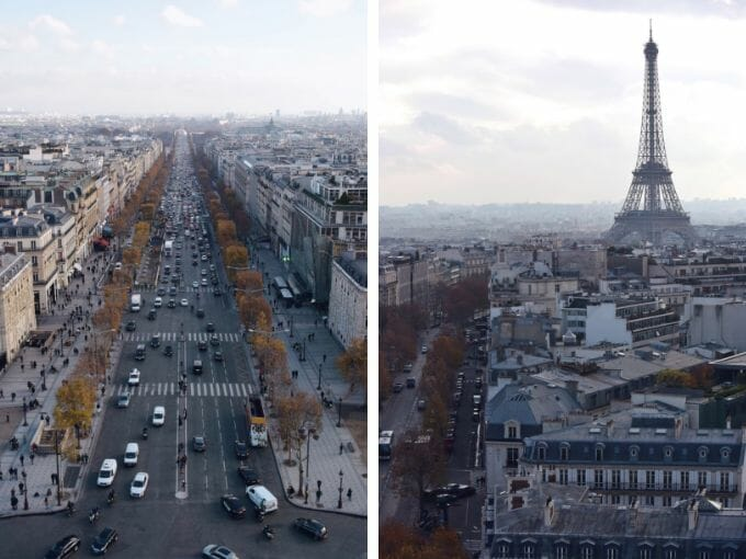 Champs Elysees and Eiffel Tower
