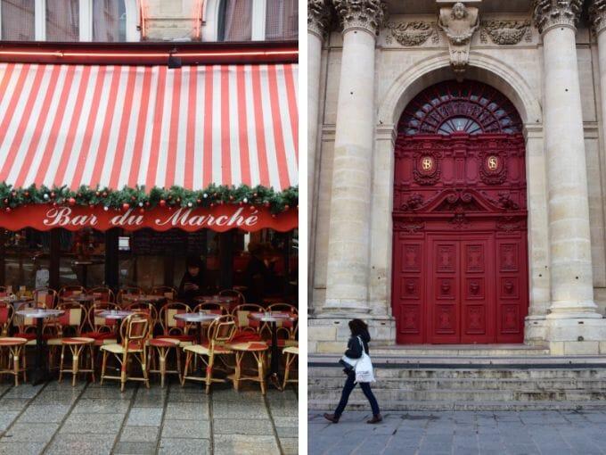 Red pavement cafe Paris