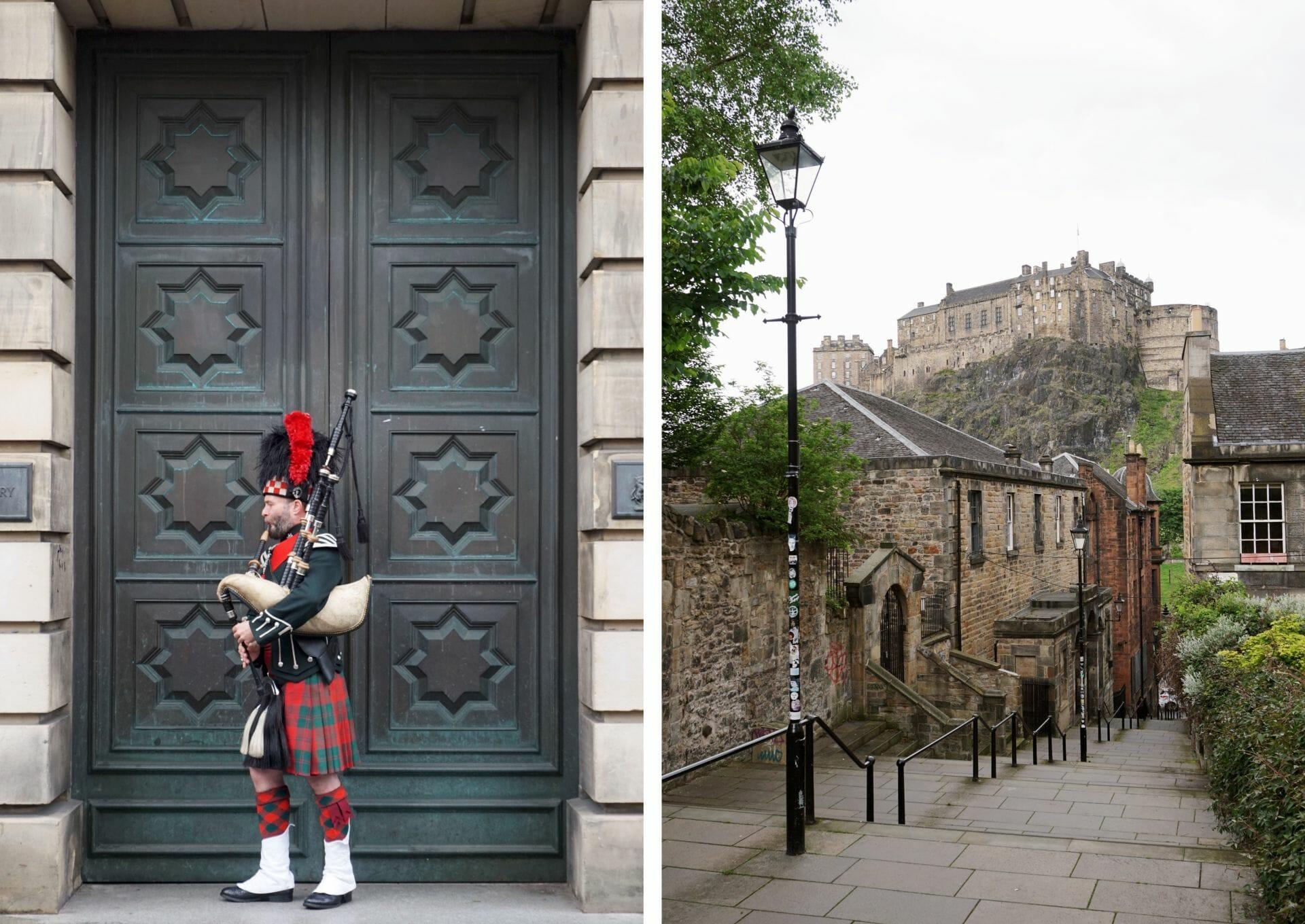 Edinburgh Castle and pipier